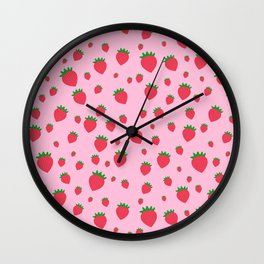 Whimsical strawberry pattern Wall Clock