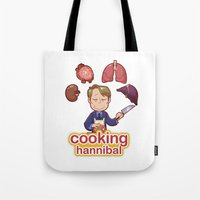 cooking Tote Bags featuring Cooking Hannibal by Sabrina Cotugno