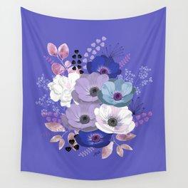 Anemones & Gardenia Blue bouquet Wall Tapestry