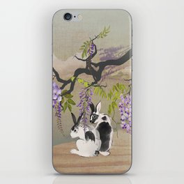 Two Rabbits Under Wisteria Tree iPhone Skin
