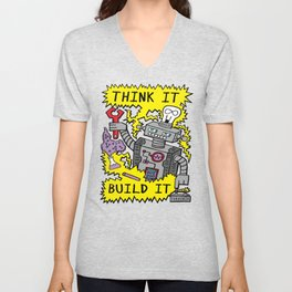 Think Build Robot Unisex V-Neck