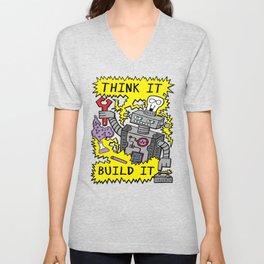 Think Build Robot Unisex V-Neck