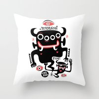 asian Throw Pillows featuring Asian Demons by Ceskus