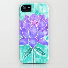 Sacred Lotus – Lavender Blossom on Mint Palette iPhone Case