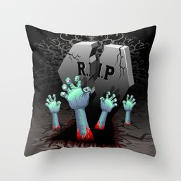 Zombie Hands on Cemetery Throw Pillow