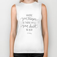 dumbledore Biker Tanks featuring Where your treasure is, there will your heart be also by Earthlightened