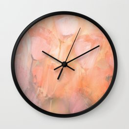 Abstract Flowers in Shades of Peach and Pink Wall Clock