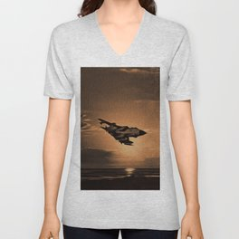 Tornado at Sunset (Digital Painting) Unisex V-Neck