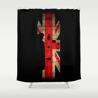 221b Shower Curtains featuring Sherlock Holmes door 221b by BomDesignz