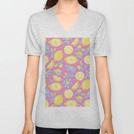 Lemon Pattern Pink Unisex V-Neck