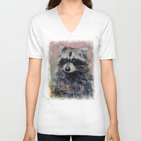 raccoon V-neck T-shirts featuring Raccoon by Michael Creese