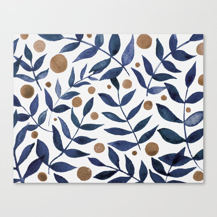 Watercolor berries and branches - indigo and beige Leinwanddruck