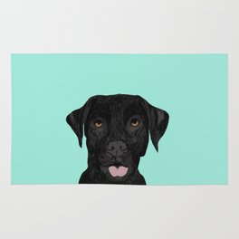 Black Labrador pet portrait dog breed art print cute dog gifts for black lab owners Rug