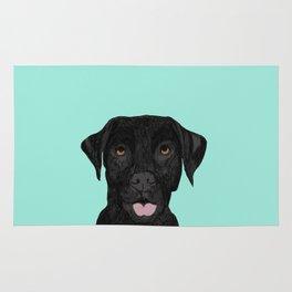 Black Labrador pet portrait dog breed art print cute dog gifts for black lab owners Rug