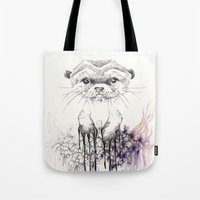 otter Tote Bags featuring Otter by RiRi.in.Berlin