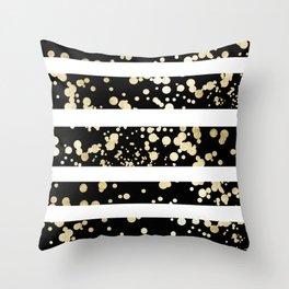 Stylish black and white faux gold confetti stripe Throw Pillow