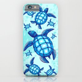 Sea Turtle Blue and Turquoise iPhone Case
