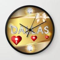 dallas Wall Clocks featuring Dallas 01 by Daftblue