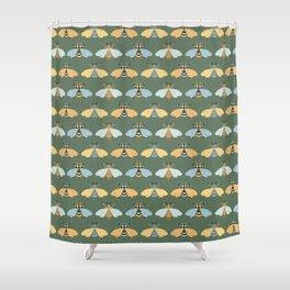 Honey Bees Pattern - Dark Green Backgound Shower Curtain