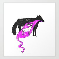 WOLF FOOD Art Print