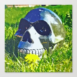 Skull with yellow flower Canvas Print