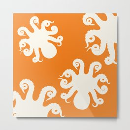 Orange Octopus Metal Print