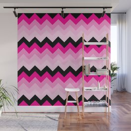 Pink and Black Chevrons Pattern Wall Mural