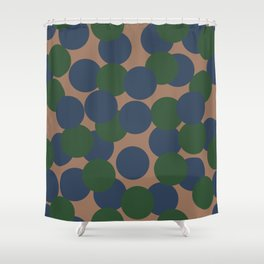 Green and Blue Dots on Salmon Shower Curtain
