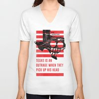 jfk V-neck T-shirts featuring Misfits JFK Poster Series - Pick Up His Head by Robert John Paterson