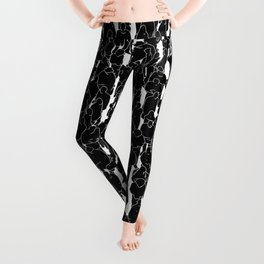 Public assembly B&W inverted / Lineart people pattern Leggings