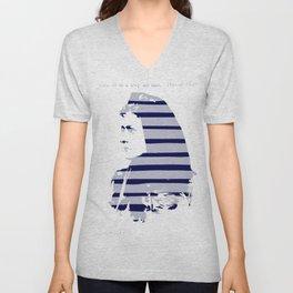 Blue Woman Vintage Illustration Minimal with stripes Unisex V-Neck
