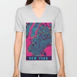 New York Neon City Map, New York Minimalist City Map Unisex V-Neck