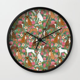 Boxer mixed coats dog breed florals pet gifts for boxers pupper must haves Wall Clock