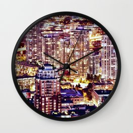 1553 Voyeuristic 1553 Vancouver Cityscape Downtown Yaletown British Columbia Canada Hot Summer Night Wall Clock