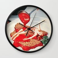 eugenia loli Wall Clocks featuring 350 Fahrenheit by Eugenia Loli