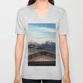 Torres del Paine National Park Chile, The Boat in Patagonia Unisex V-Neck