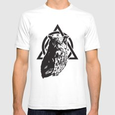 Owl & symbols SMALL White Mens Fitted Tee