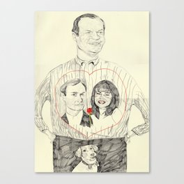 Frasier wearing a tshirt of Niles and Daphne in a luv heart Canvas Print