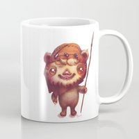 ewok Mugs featuring Wicket the ewok by Nathalie Vessillier
