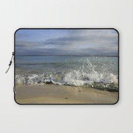 White Water Waves Crashing on Winter Beach Laptop Sleeve