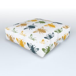 Honey Bees in yellow, gold and navy Outdoor Floor Cushion