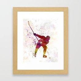 Hockey man player 02 in watercolor Framed Art Print
