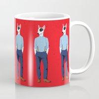 bull terrier Mugs featuring Skinhead Bull Terrier by drawgood