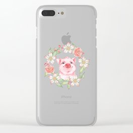 Pig and flowers Clear iPhone Case
