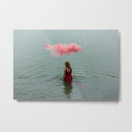 Beautiful woman swimming at the sea. Metal Print