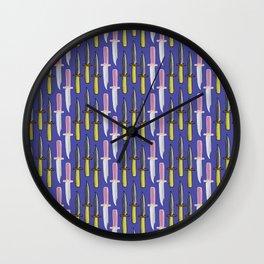 Double Knife Purple Pattern Wall Clock