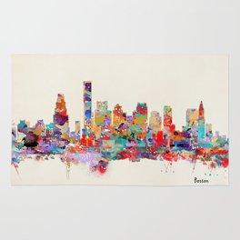 Boston city watercolor Rug