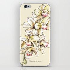 Yellow Orchid on Cream iPhone & iPod Skin