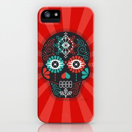 Día de Muertos Calavera • Mexican Sugar Skull – Black & Turquoise on Red Starburst iPhone Case