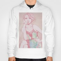 water colour Hoodies featuring Water Colour Girl 2 by DeeDee Design